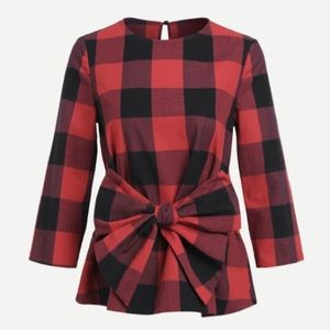 Tops - Bow belted gingham top- Medium